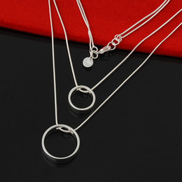 Factory direct wholesale 925 Sterling Silver Double Circle Necklace Fashion Silver Necklace Multi-Layer Tattoo Choker Necklace