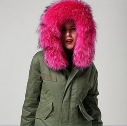 Wholesale 1 quality Live pictures shows Rose red fur Mr Mrs Italy real dyed rabbit fur lining Canvas Parka Mr Mrs fur mini jackets
