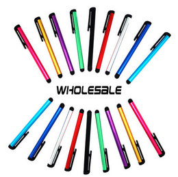 Wholesale-500pcs lot Mini Pens Capacitive screen stylus touch pen with clip for iphone 5 6 6S 6S Plus iPad mini iPad Samsung Galaxy