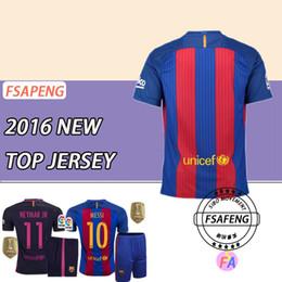 Wholesale 16 top quality Barcelona soccer jersey Home Away MESSI ARDA A INIESTA Soares et I RAKITIC football shirt suits