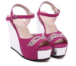 Wholesale Sparkly Red Wedding Shoes - Wedding Fuchsia Sparkly Glitter Gold Prom Dress Heels Ankle Strap Wedge Heel Sandals Size 34 - 40 41