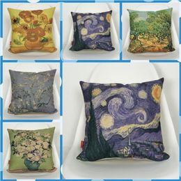 Van Gogh Painting Abstract Dutch Master Of Art Masterpieces Pillows Emoji Fiber Euro Case Cover Home Decor Enhance Plants Gift