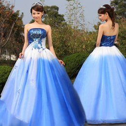 100%real blue sequined flower fading color ball gown queen medieval dress Renaissance gown Si princess Victoria Belle Ball