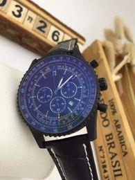 Wholesale fashion brand new watches men full black navitimer sports chronograph quartz watch leather belt blue pins Watch Men dress Watches BRL25