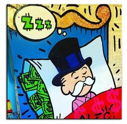 Wholesale High Quality genuine Hand Painted Wall Decor Alec monopoly Pop Art Oil Painting On Canvas Alec monopoly sleeping idea