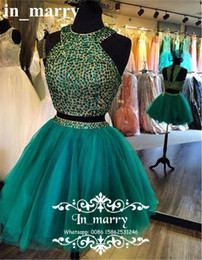 Two Pieces Crystal Beaded Short Homecoming Dresses Cheap 2017 Hunter Green A Line Sexy Back Plus Size 2K16 Couple Prom Cocktail Party Gowns