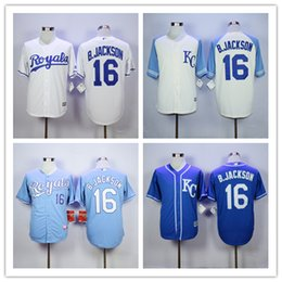 Wholesale 2016 Majestic Official Cool Base MLB Stitched KC Kansas City Royals Bo Jackson White BLue Gray Gold Jerseys Mix Order