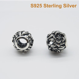 Fits Pandora Bracelet&Charms OPENWORK ENAMEL FLOWER CHARM DIY Beads Solid 925 Silver Not Plated