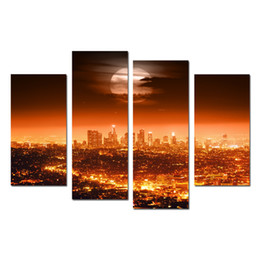 Wholesale 4 Panel Full Moon USA Los Angeles Night City Lights Cityscapes Contemporary Scenery Photographic Print On Canvas Pictures Artwork Unfamed