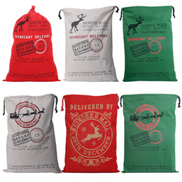 Wholesale 2016 new popular Christmas Large Canvas Bags styles for choose Santa Claus Drawstring Bags With Reindeers cotton Christmas Gift Sack Bag