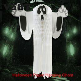 2016 Halloween Paper Hanging Ghost Hot Shroud Door Hanger Foldable Fun White Halloween Party Props Decoration
