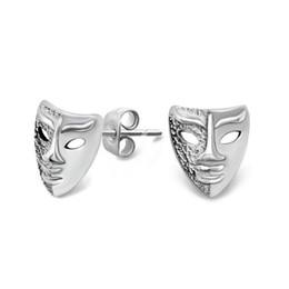 Compra Online Alto acero inoxidable pulido-Unisex alto pulido de acero inoxidable máscara de perno prisionero Pendientes Cool niños muchachas martillado dos cara hombre máscara pernos pendiente E331