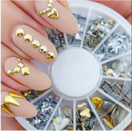 Wholesale 6 Styles Silver Gold D Glitter metal nail art Decoration Round Wheel Stickers Square Punk Rivet studs