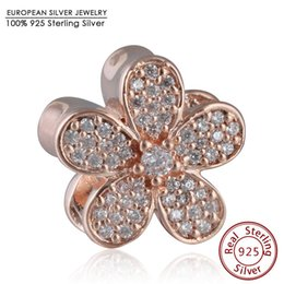 Wholesale Fits Pandora Bracelets Rose Gold plate Dazzling Daisy Charm Beads Sterling Silver Pave AAA CZ Flower Beads DIY Fine Jewelry