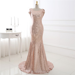 Gold Long Sparkling Bridesmaid Dresses Sequined Short Sleeves Cheap Bridesmaid Dresses 2019 Plus Size Wedding Party Bridesmaids Dress