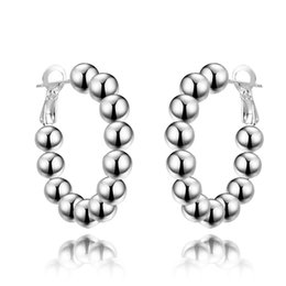 925 Sterling Silver Women's Beaded Hoop Clip-Back Earrings
