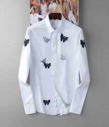 Wholesale 2016 New Man Shirt Pure Color Embroidery Euramerican Fashion Men Long Sleeved Shirt Healthier Age Season Man Shirt M XXXL Size