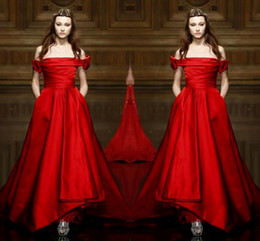 Elegant Simple Red Off Shoulder Evening Gowns 2017 A Line Floor Length Prom Dresses Cheap Formal Wear Free Shipping Party Dresses