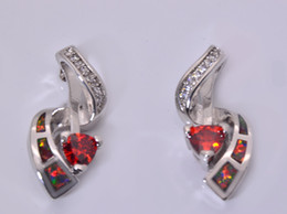 Wholesale & Retail Fashion Red Fine Fire Opal Earrings 925 Silver Plated Jewelry EMT16041705