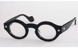 Brand Glasses-Fashion Theo vintage circular full frame male Women eyeglasses myopia glasses frame black personalized men eyewear
