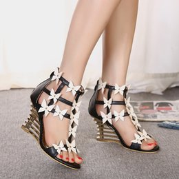 Recommended strange wedge heel shoes with flower shoes women 9cm size 35 to 40
