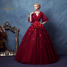 lantern sleeve wine red petals crystal beading veil court ball gown medieval dress Renaissance Victoria Antoinette  Belle Ball