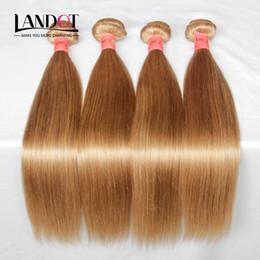 4 Bundles Brazilian Peruvian Malaysian Indian Virgin Hair Straight Color #27 Honey Blonde Brazilian Human Hair Weaves Remy Hair Extensions