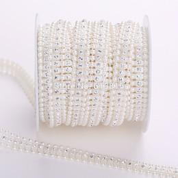 10yards Pearl Crystal Rhinestone Cup Chain Pearl Base Wedding Dress Decoration Trim Applique Sew on Party Dress