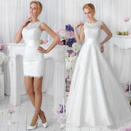 2017 Romantic White Two Pieces A Line Lace Wedding Dresses with Detachable Skirt Vestidos De Noiva Spring Crew Neck Short Dance Bridal Gowns