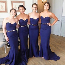 Wholesale Modest Navy Blue Bridesmaid Dresses Mermaid Style Sweetheart Wedding Party Gowns For Guests Gowns Chiffon Long Gold Belt
