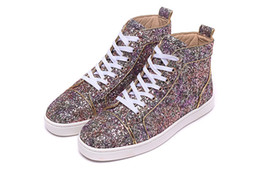 High Top 2016 Luxury Pink Purple Colorful Glitter Leather Gold Line Men Red Bottom Shoes For Women Designer Casual Shoes with top quality