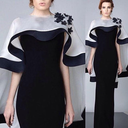 2016 Black and White Evening Dresses Sheath Middle East Floor Length Evening Gowns Formal Women Dresses