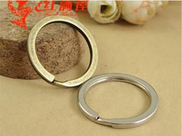 A1183 28MM Vintage round Retro Keychain split key ring parts DIY jewelry wholesale, key holder hook, bronze brass metal key hanger