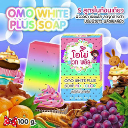 Wholesale 2016 New Arrivals OMO White Plus Soap fruitamin soap Mix Color Plus Five Bleached White Skin Gluta Rainbow Soap DHL free