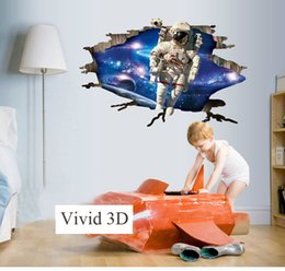 Wall Tycoon 3d Stereo Effect Astronauts Removeable Outer Space Wall Stickers Carttoon Spaceman Pvc Wall Paper Painting Wallpaper