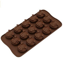 Wholesale 15 cavity Cute Pig Emotion chocolate Cake Mold Silicone Soap Mold For Handmade Soap Candle Candy bakeware baking molds ice molds