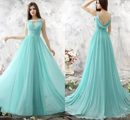 Promotion robe avant serrure Aqua Blue Robes de demoiselles d'honneur en mousseline de soie 2016 A Line Scoop Keyhole Front Sheer Lace Appliques Beaded Low Back Maid of Honor Dresses