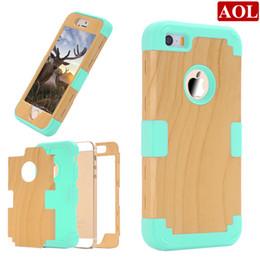 Caso de impacto galaxy s en Línea-Caso híbrido 3en1 Impacto de madera dura de silicona suave para el iPhone 5 5s 5c SE S amsung Galaxy Note N9200 5 Armadura casos de teléfono