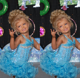 Light Sky Blue Short Glitz Little Infant Girl's Pageant Dresses for teens with Halter Crystal Toddler Kids Ritzee Girl Cupcake Ball Gowns