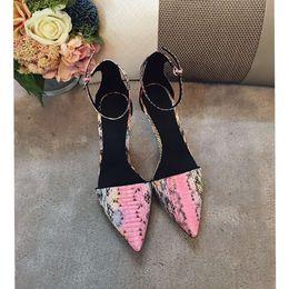 Wholesale Ladies dress shoes sandals original import snakeskin vamp cowskin inside genuine leather tread high end quality fasion women best love
