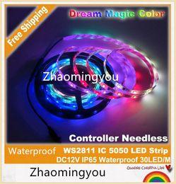 Promotion couleur de rêve magique Contrôleur Inutile WS2811 rêve Color Magic 5050 LED Strip, DC12V 60LED / m IP65 étanche couleur RVB et blanc.