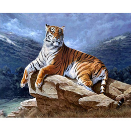 Beauty Life New DIY Diamond painting cross-stitch King Tiger Animals cross picture of crystals Craft hobby 25x20cm HWB-710
