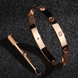 Wholesale 2016 New screws never lose style platinum k rose gold L stainless steel forever lovers screw bangle bracelet include Box and card bag
