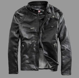 Wholesale Factory Men Leather Jacket Genuine Real Cowskin Brand Black Male Bomber Motorcycle Biker Man s Coat Autumn Jaqueta
