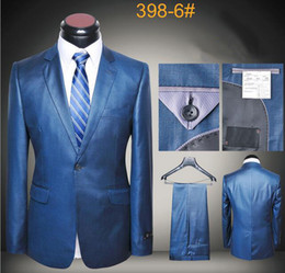 Suits jackets luxury wool latest coat and pants men suits slim fit business suits royal blue beige