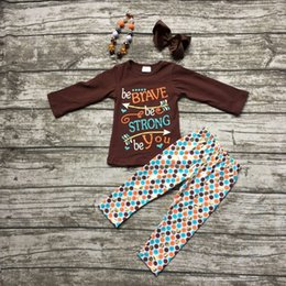 Wholesale girls thanksgiving outfit kids Fall clothes girls be BRAVE be STRONG be You clothing children boutique outfits with accessories