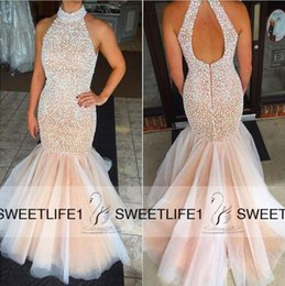 Wholesale Crystal Cut Out Evening Dresses - Beaded Luxury Mermaid Sleeveless 2016 Long Prom Dresses with Halter Neck Cut out Back Floor Length Customized Pageant Evening Gowns