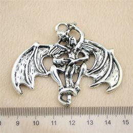 2Pcs 55*65mm antique Silver ToneVampire bats Charms Zinc Alloy DIY Handmade Jewelry Pendants Wholesale