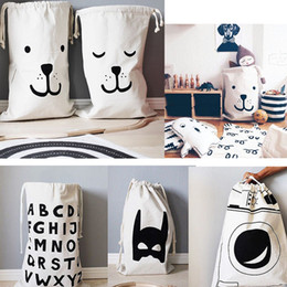 Cartoon Printing Laundry Storage Bag Pouch, Cotton Canvas Bag for Toys Clothes,Baby Kids Toys Storage Bag Cute Wall Pocket