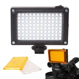 Mini 96 LED Video Light Photo Lighting on Camera Hotshoe LED Lamp Lighting for Camcorder with Indepent Power Switch and White Yellow Filters